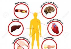 Alcoholism Health Problems: Atherosclerosis, Damage to brain function, Cirrhosis, Chronic heart failure, Reproductive dysfunction, Pancreatitis
