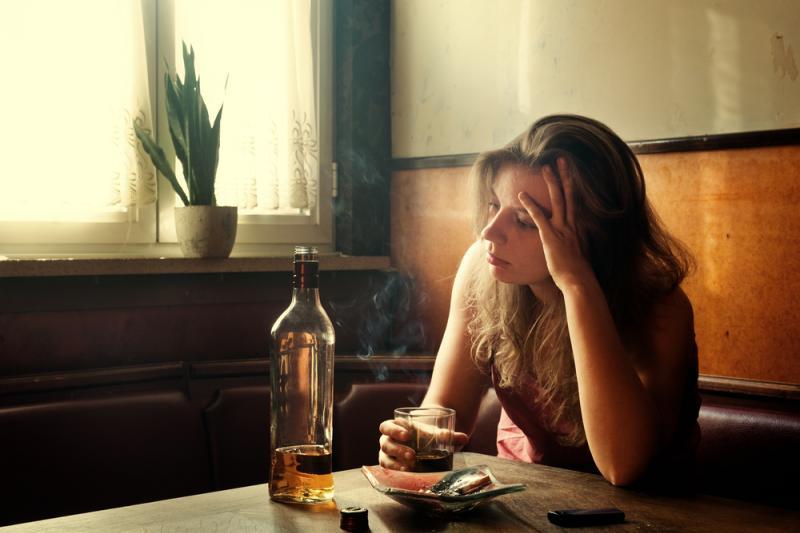 Woman alcoholic.