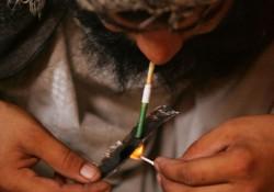 Smoking opium. Heroin and opium Addiction.