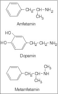 amfetamin dopamin Metamfetamin chemical formula